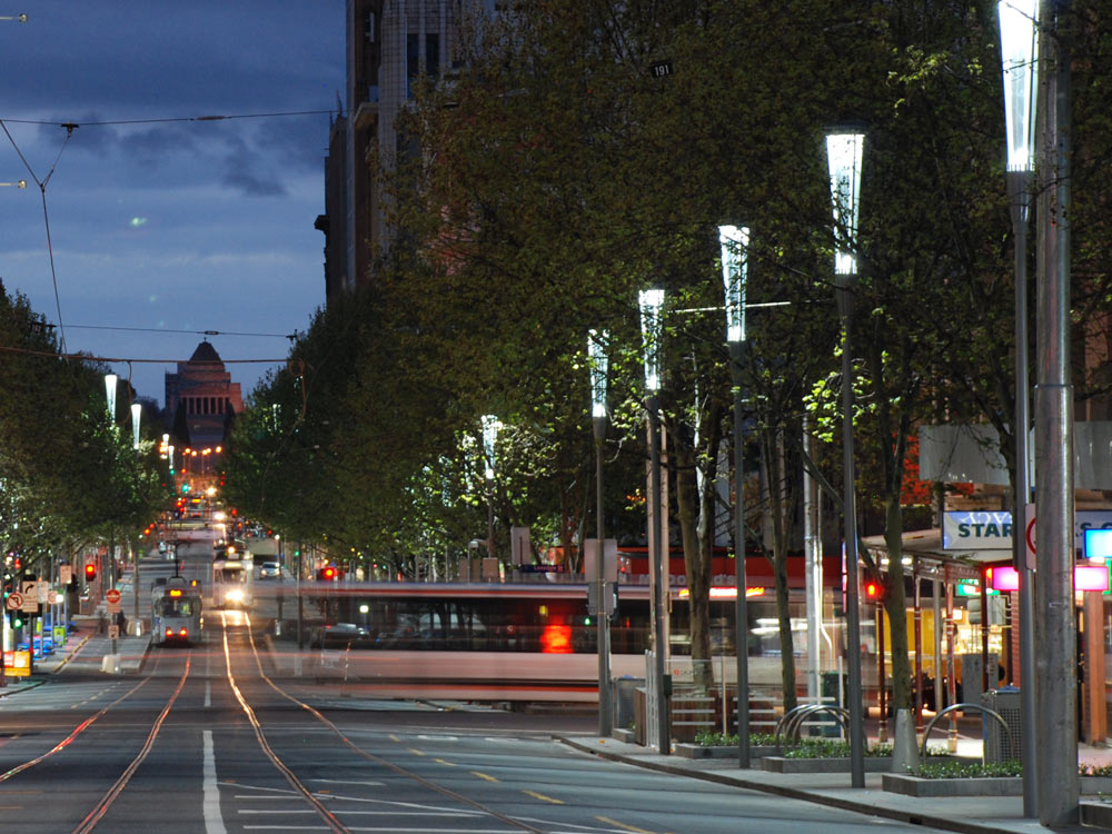 Swanston Street lighting with Shrine of Rememberence backdrop